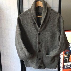 men's j.crew sweater cardigan lambs wool